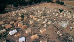 Cemetery, graveyard Aerial shot Stock Footage