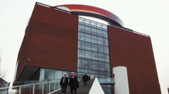 0221 AROS. Circular, panoramic walkway  in the rainbow colors. art museum Stock Footage