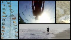 A collage of many beach items and scenes Stock Footage