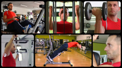 Fit man doing workout at the gym, montage Stock Footage