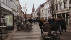0225 AARHUS, DENMARK : People walking in the Strǿget. The main comm Stock Footage