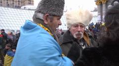 #EuroMaydan Old men tolk Stock Footage