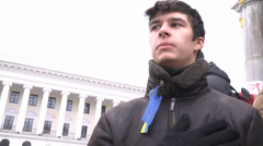 #EuroMaydan Young man singing the Himn of Ukraine Stock Footage