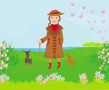 Stylish old woman on a walk with her dogs Stock Illustration