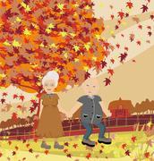 Senior couple walking in autumn day Stock Illustration