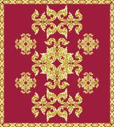 Vintage traditional Thai style art pattern background - stock illustration