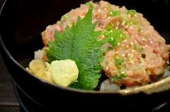 japanese cuisine, rice with maguro minced fish - stock photo