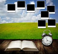 Time to write diary and capture good memories in photo frames Stock Illustration