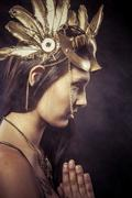 valkyrie, golden statue concept. arty portrait of model with golden mask and  - stock photo