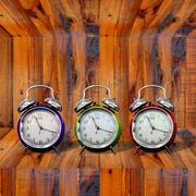 Stock Illustration of clock inside wooden shelf