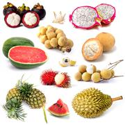 Set of tropical fruit in Thailand, Fruit isolated Stock Photos