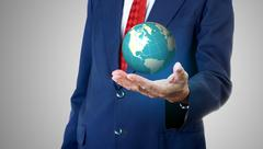 Businessman carry the global in his hand, Globalization concept - stock illustration