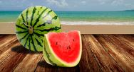 Stock Illustration of Watermelon from japan on beach, Summer concept