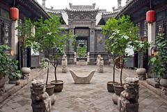 Ornamental courtyard of a historical house in pingyao, china Stock Photos