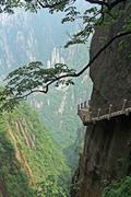 The pathway made on the vertical slope of a mountain, huang shan, china Stock Photos