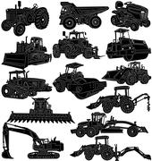 Construction and Farm Equipments Silhouette a - stock illustration