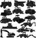 Stock Illustration of Construction and Farm Equipments Silhouette a