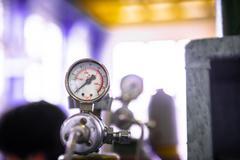Manometer of an air compressor Stock Photos