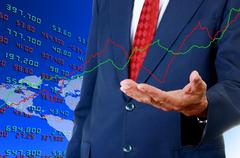 Stock Illustration of Senior businessman analyst stock exchange data graph