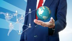 Stock Illustration of Businessman accessing global social network, Network marketing