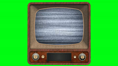 Old tv - image disturbance and goes out - green screen Stock Footage