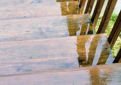 rain water on stairs - stock photo