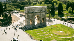 Arch of Constantine in Rome filmed from above in time lapse Stock Footage