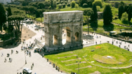 Stock Video Footage of Arch of Constantine in Rome filmed from above in time lapse