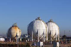 Spherical silos and tanks Stock Photos