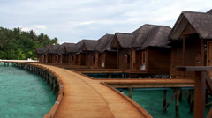 Overwater bungalows. Maldives. Stock Footage