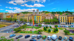 Girona, Spain from above in tilt shift and time lapse styl Stock Footage
