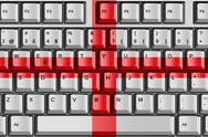 Stock Illustration of computer keyboard with england flag concept