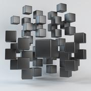 Abstract black geometric shapes from cubes Stock Illustration