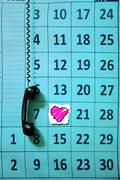 Stock Illustration of calender page with a detail of the valentine day, telephone receiver, concept
