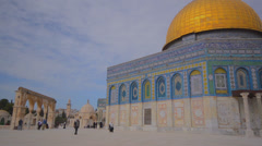 Dome of the Rock on Temple Mount in Jerusalem Stock Footage