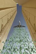 airplane dropping money over city - stock illustration