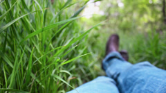 Laying in the grass Stock Footage