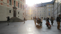 Asian Tourists In Prague Stock Footage