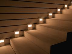 illuminated stairs - stock photo