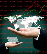 News from stock market to investor hand with world map background - stock illustration