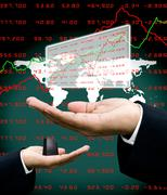 Analyst data in investor hand with world map background Stock Illustration