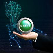 Start button on manager hand, Technology background Stock Illustration