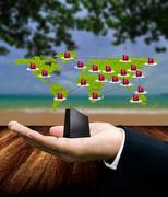 Stock Illustration of Buy travel package from internet, Network marketing concept
