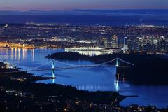 Burrard Inlet Vancouver Twilight Stock Photos