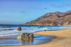 early dusk at garrapata state park - stock photo