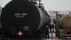 Hydraulic Fracturing Site (Fracking) Oil Train Stock Footage