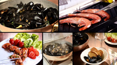 Shellfish, collage Stock Footage