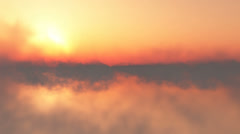 flying through the clouds at sunset with sun - stock footage
