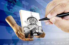 Stock Illustration of human hand with pen drawing on canvas