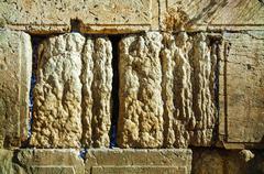 Rocks of the wailing wall close up in jerusalem Stock Photos